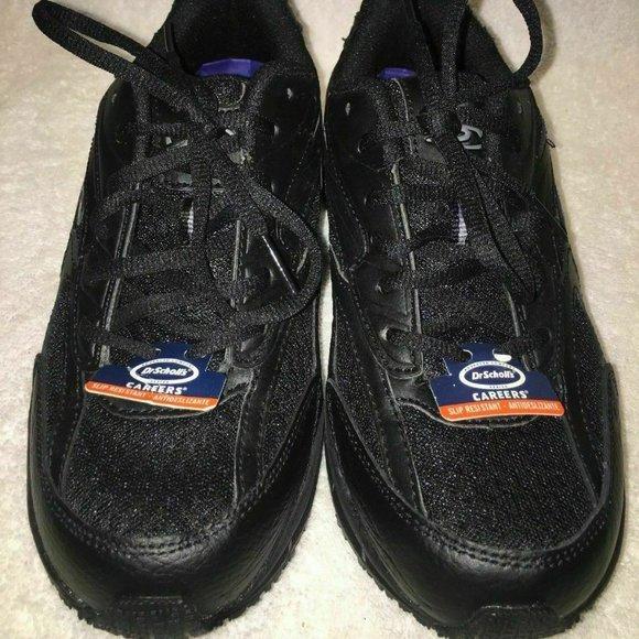 NEW Dr Scholls CAREERS Peppy Work Comfort Shoes Black Oil Slip Resistant WIDE